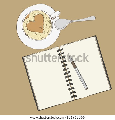 Notebook and a cup of coffee, raster