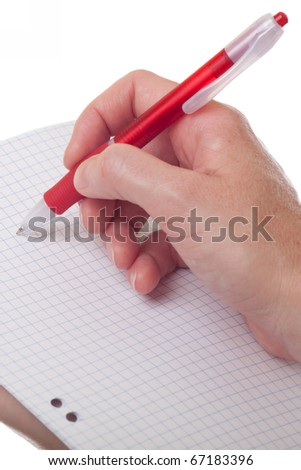 Notebook and a red pen in the hands of women isolated on white