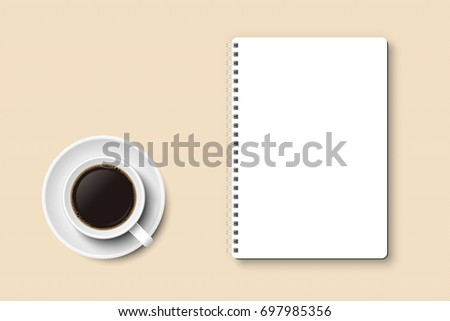 Notebook and coffee in mug vector with copy space, isolated on white background. White mug and plate, white notebook, light brown textured surface, top view, from above.  #697985356