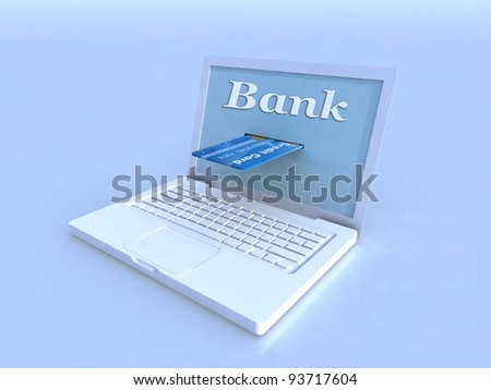 notebook and credit card on blue background, 3d illustration