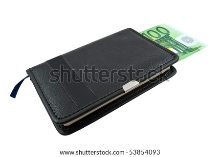 Notebook and Euro banknotes money on a white background