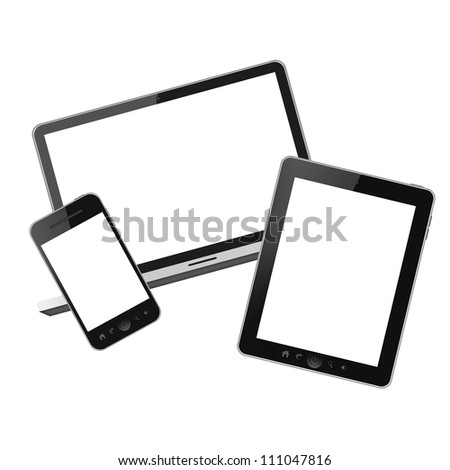 Notebook and mobile phones isolated on white background