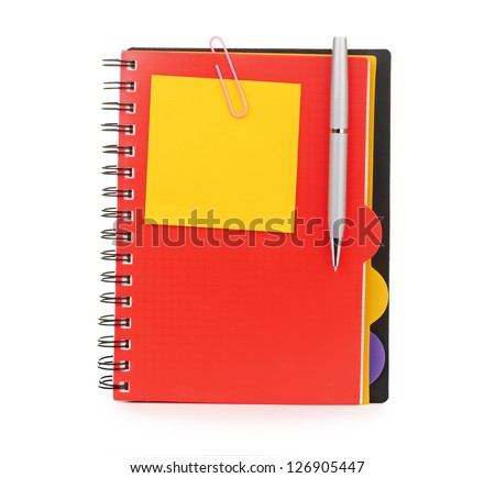 Notebook and pen isolated on white