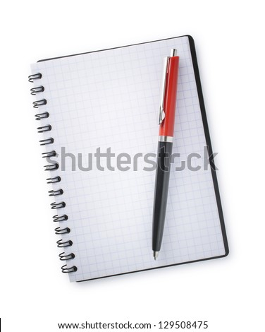 notebook and pen on a white background #129508475