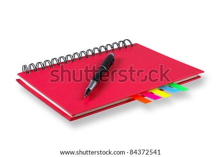 Notebook and pen on a white background