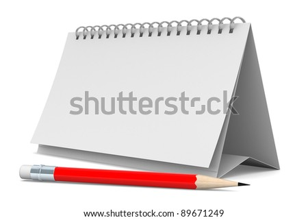Notebook and pencil on white background. Isolated 3D image