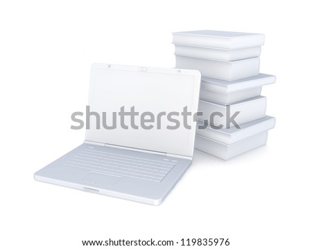 Notebook and stack of books.Isolated on white background.3d rendered.
