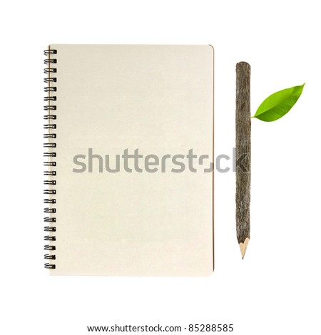 notebook and wooden pencil isolated on white background, conservation concept