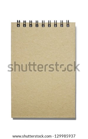 Notebook; brown spiral-bound notebook; blank cover; isolated on white ground - stock photo