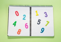 Notebook dividing even and odd numbers in green background.