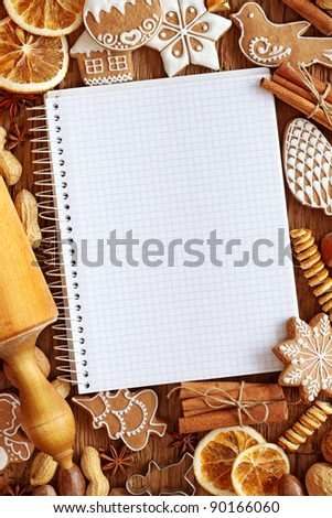 Notebook for recipes of christmas cakes