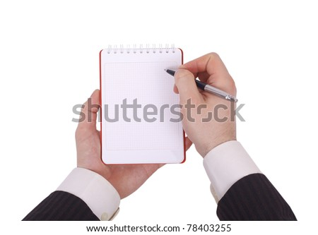 Notebook in hand