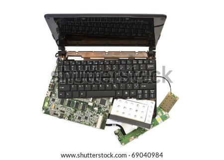 notebook laptop disassembled into parts