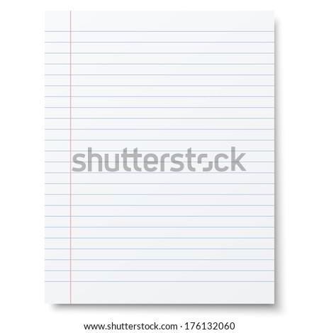 Notebook lined paper background. Raster version illustration.
