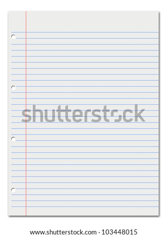 Notebook lined white paper. Space to text.