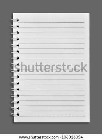 notebook on a gray background