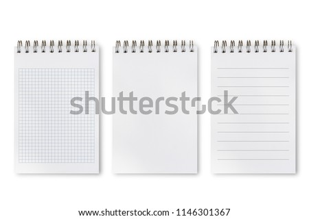 Notebook or notepad set, square, lines and blank sketchpad isolated on white background, include clipping path. Set of difference types of notepad