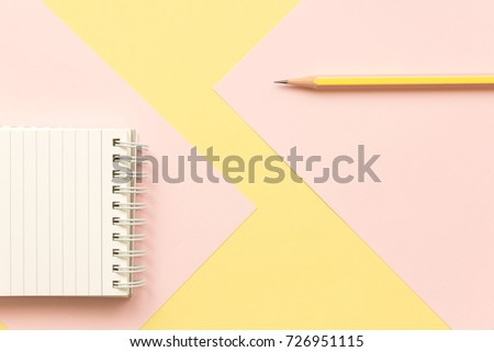 Notebook Paper And Pencil On Pastel Office Desk 726951115