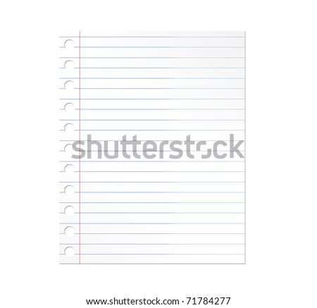 Notebook paper illustration over white background. Illustration