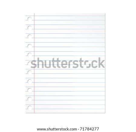 Notebook paper illustration over white background. Illustration