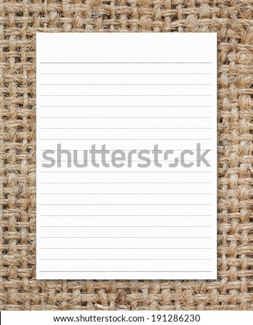 Notebook paper on sack texture