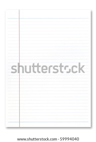 Notebook paper on white background. .