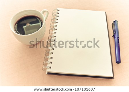 Notebook pen and coffee in sweet moment #187181687