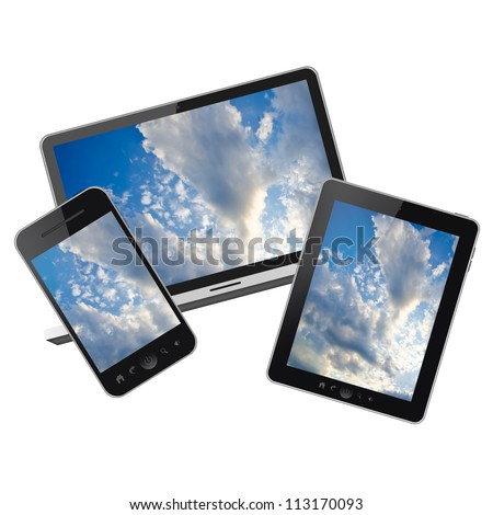 Notebook, tablet pc and Mobile phone isolated on white background