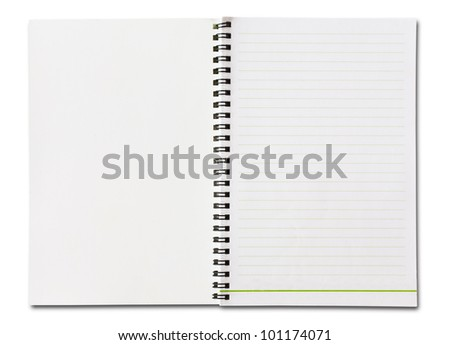 Notebook vertical single white page Isolated
