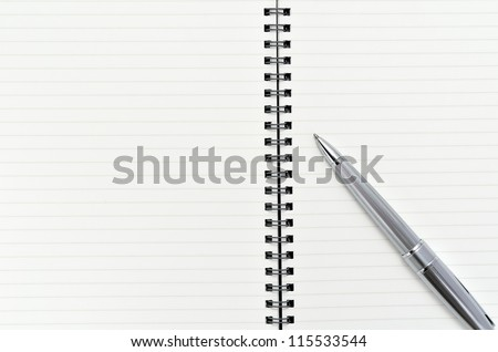 Notebook with Ballpoint pen (on white background)