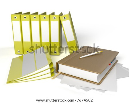 notebook with binders against white background. Office life.