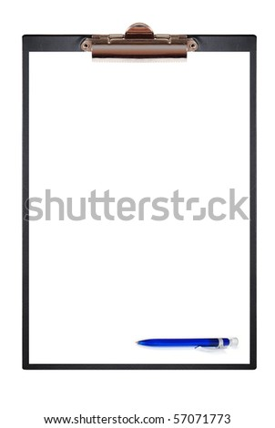 Notebook with clip and pen. Isolated