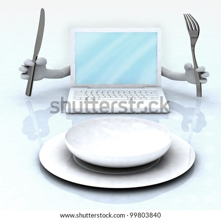 notebook with hands and utensils in front of an empty plate