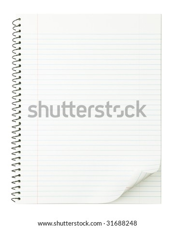 Notebook with nice page curl and no shadow for easy manipulation. isolated on pure white.
