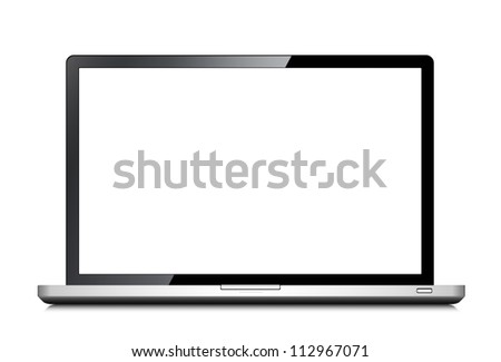 Notebook with opened screen -  isolated on white background
