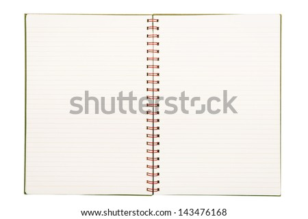 Notebook with pale lined paper and red metal binding isolated on white background #143476168