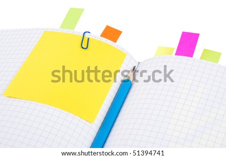 Notebook with pencil and bookmarks