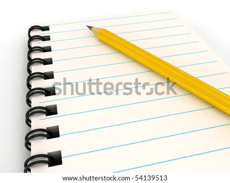 Notebook with pencil over white. 3d rendered image