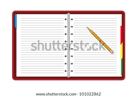 Notebook with pencil. Vector available.