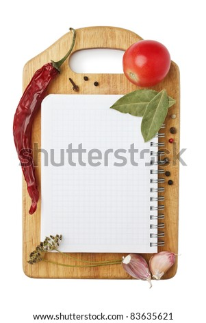 Notebook with recipes and shopping list in the kitchen #83635621