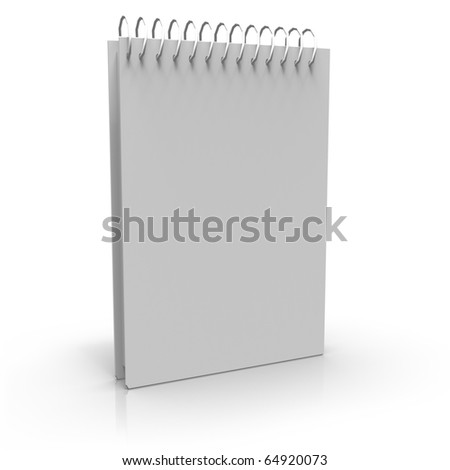 Notebook with spiral on white background