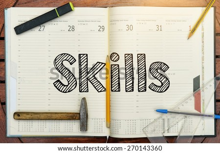 notebook with the note in the center about Skills