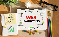 Notebook with Toolls and Notes about Web Marketing