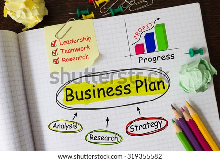 Notebook with Tools and Notes About Business Plan