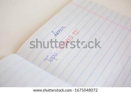 Notebook with topic: covid 19 Zdjęcia stock ©