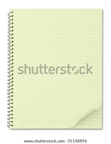 Notebook with typical yellow recycled paper. with nice page curl.