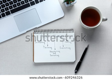 Notebook with written features of PROJECT MANAGEMENT on light background #609246326