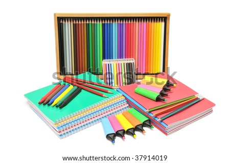 notebooks and pencils isolated on a white