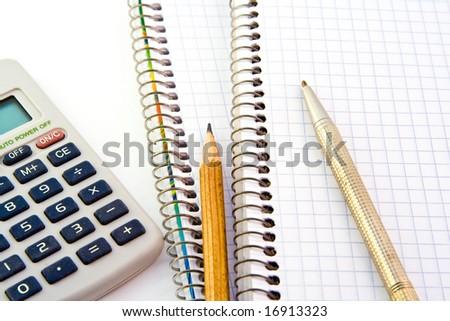 Notebooks isolated on white background - stock photo