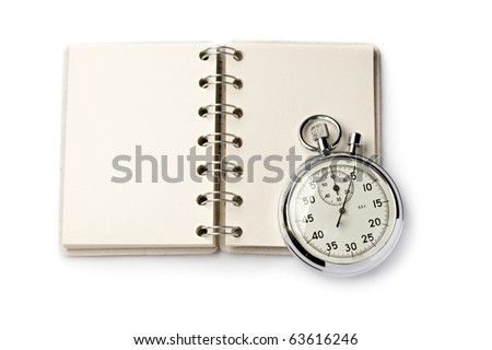Notepad and stopwatch isolated on white background